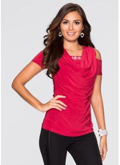 Shirt mit Wasserfallausschnitt, BODYFLIRT, rot