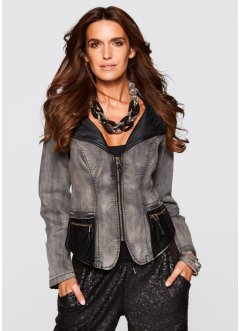Premium Jeansjacke mit Lederimitat-Besatz, bpc selection premium, grey denim/schwarz