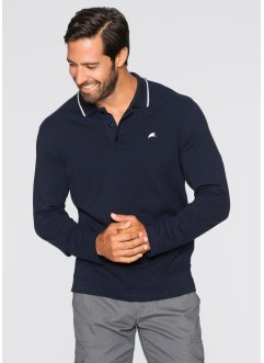 Herren Langarm-Poloshirt, Regular Fit, bpc bonprix collection, dunkelblau