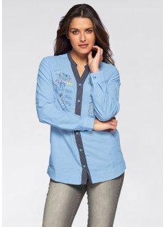 Bedruckte Langarm-Bluse, John Baner JEANSWEAR, hellblau bedruckt