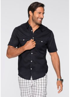 Kurzarm-Hemd Regular Fit, bpc bonprix collection, schwarz