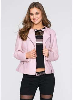 Veste biker simili cuir, RAINBOW, rose clair