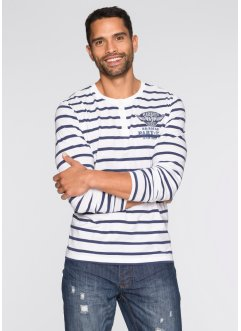 T-shirt manches longues Slim Fit, RAINBOW, blanc/indigo rayé