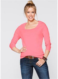 Basic Baumwoll Rib-Jersey, bpc bonprix collection, neonrosa