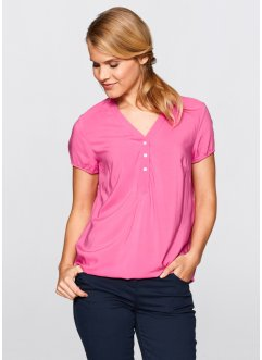Kurzarm-Bluse, bpc bonprix collection, flamingopink