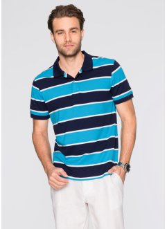 Poloshirt Regular Fit, bpc bonprix collection, dunkelblau/türkis/weiss gestreift