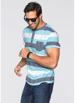 Henley-Shirt Regular Fit, John Baner JEANSWEAR, aqua gestreift