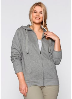 Sweatjacke, bpc bonprix collection, hellgrau meliert