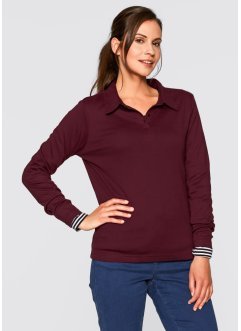 Basic Baumwollshirt Rib-Jersey, bpc bonprix collection, ahornrot
