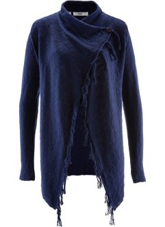 Fransen-Strickjacke, Langarm, bpc bonprix collection, dunkelblau
