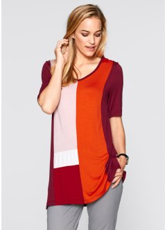 Shirt, Kurzarm, bpc bonprix collection, bordeaux/blutorange
