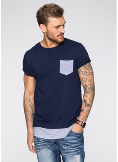 Langes T-Shirt Slim Fit, RAINBOW, dunkelblau