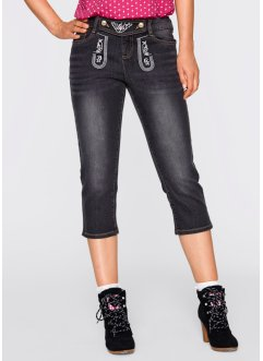 3/4-Trachtenjeans mit Stickerei, bpc bonprix collection, black stone