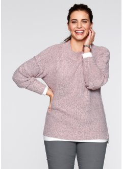 Bouclé-Pullover, bpc bonprix collection, zartrosa meliert