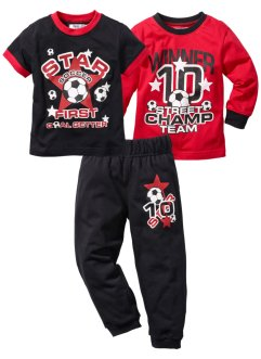 Shirt + T-Shirt + Sweathose (3-tlg. Set), bpc bonprix collection, rot/schwarz