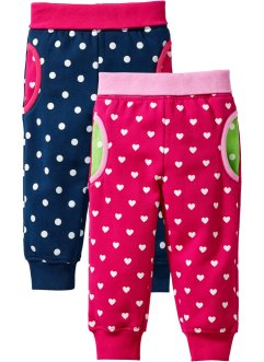 Baby-Sweathose (2er-Pack) Bio-Baumwolle, bpc bonprix collection, dunkelpink/dunkelblau