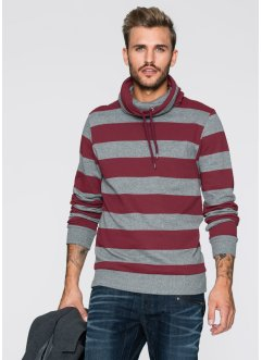 Sweatshirt Slim Fit, RAINBOW, bordeaux/grau meliert gestreift