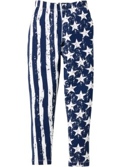 Jersey Leggings Stars and Stripes, bpc bonprix collection, dunkelblau/weiß allover