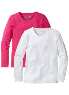 Langarmshirt (2er-Pack), bpc bonprix collection, dunkelpink/weiß