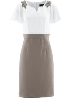 Kleid mit Applikation, bpc selection premium, taupe/wollweiß