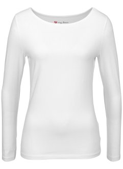 Basic Baumwollshirt Stretch-Jersey, bpc bonprix collection, weiß