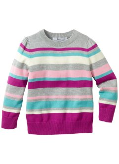 Strickpullover, bpc bonprix collection, hellgrau meliert/ pastell gestreift