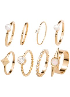 8-tlg. Ring-Set, bpc bonprix collection, goldfarben