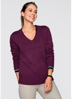 V-Pullover, bpc bonprix collection, beere