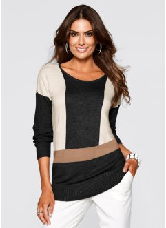Oversized-Pullover mit Cashmere, bpc selection premium, schwarz/cappuccino
