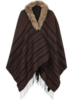 Poncho mit Fellimitat, bpc bonprix collection, braun/schwarz