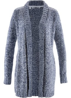 Bouclé-Strick-Jacke, bpc bonprix collection, indigo meliert