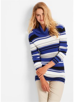 Rollkragen-Pullover, bpc bonprix collection, saphirblau gestreift