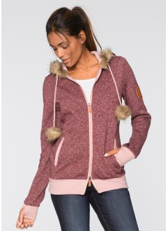 Strickfleece-Jacke, bpc bonprix collection, ahornrot meliert