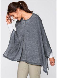 Sweat-Poncho im Used-Look, bpc bonprix collection, graublau used