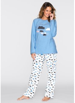 Fleece-Pyjama, bpc bonprix collection, hellblau/wollweiß bedruckt