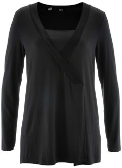 2-in-1-Shirt mit langen Ärmeln, bpc bonprix collection, schwarz