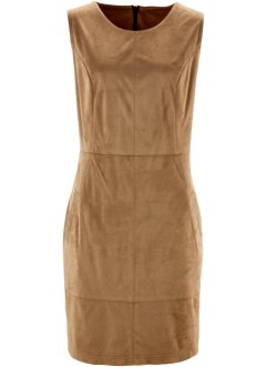 Velourslederimitat-Kleid, bpc bonprix collection, cognac braun