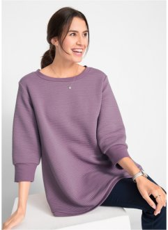 Sweat-Shirt mit Querrippstruktur, 3/4 Arm, bpc bonprix collection