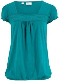 Baumwoll-Shirt mit Spitze, Kurzarm, bpc bonprix collection