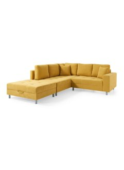 Ecksofa links mit Hocker und Strukturstoff (2-tlg.Möbelset), bpc living bonprix collection