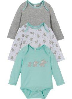 Baby Langarmbody (3er-Pack) Bio-Baumwolle, bpc bonprix collection
