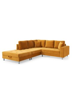 Ecksofa links mit Hocker und Samtbezug (2-tlg.Möbelset), bpc living bonprix collection
