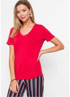 Shirt mit V-Ausschnitt und Spitze, RAINBOW