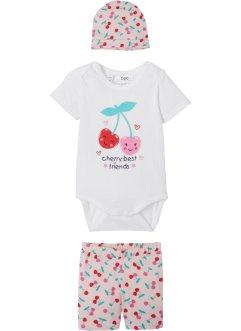 Baby Body + Shorts + Mütze (3-tlg.) Bio-Baumwolle, bpc bonprix collection