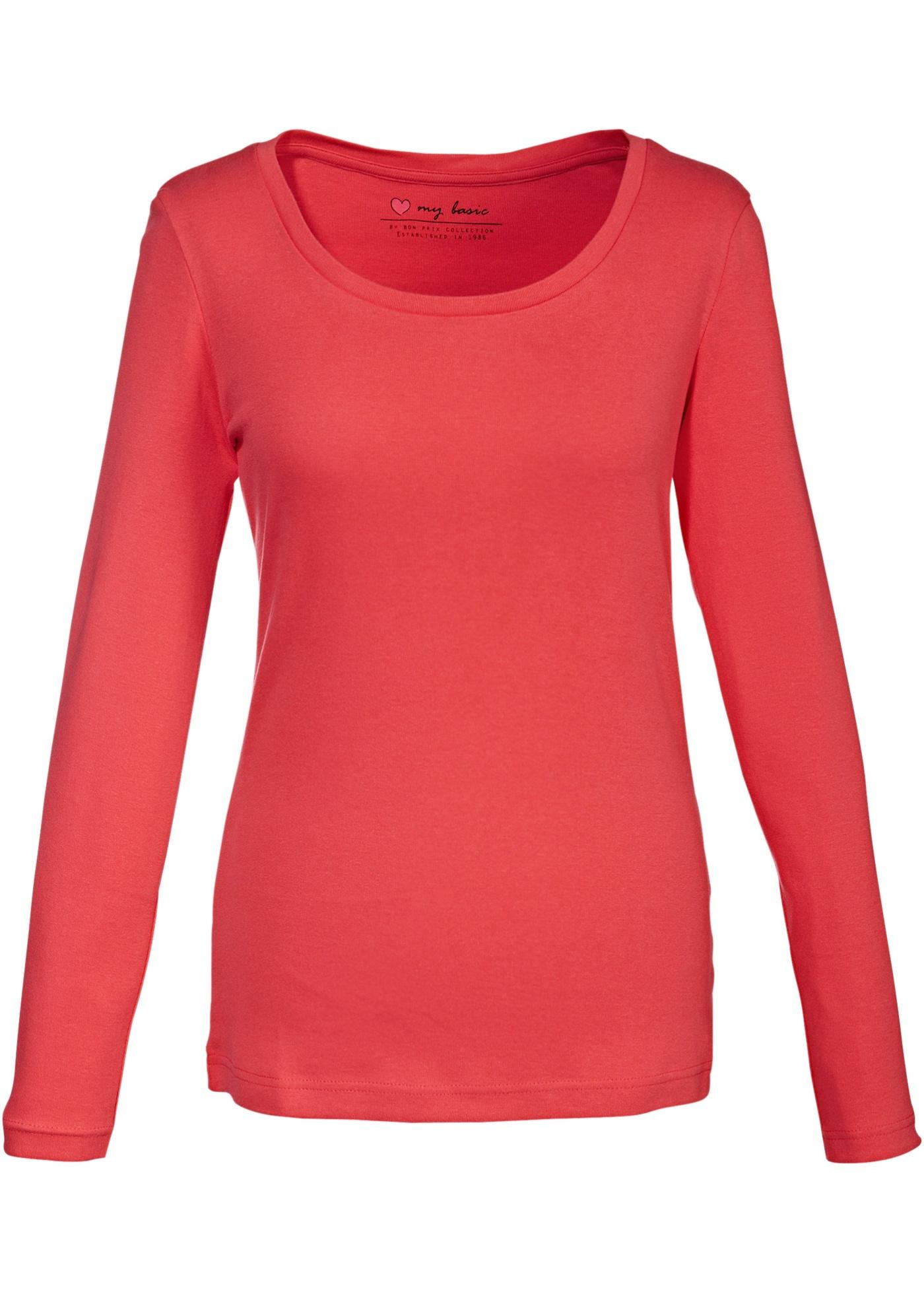 Blusa manga longa, decote redondo vermelha com decote redondo