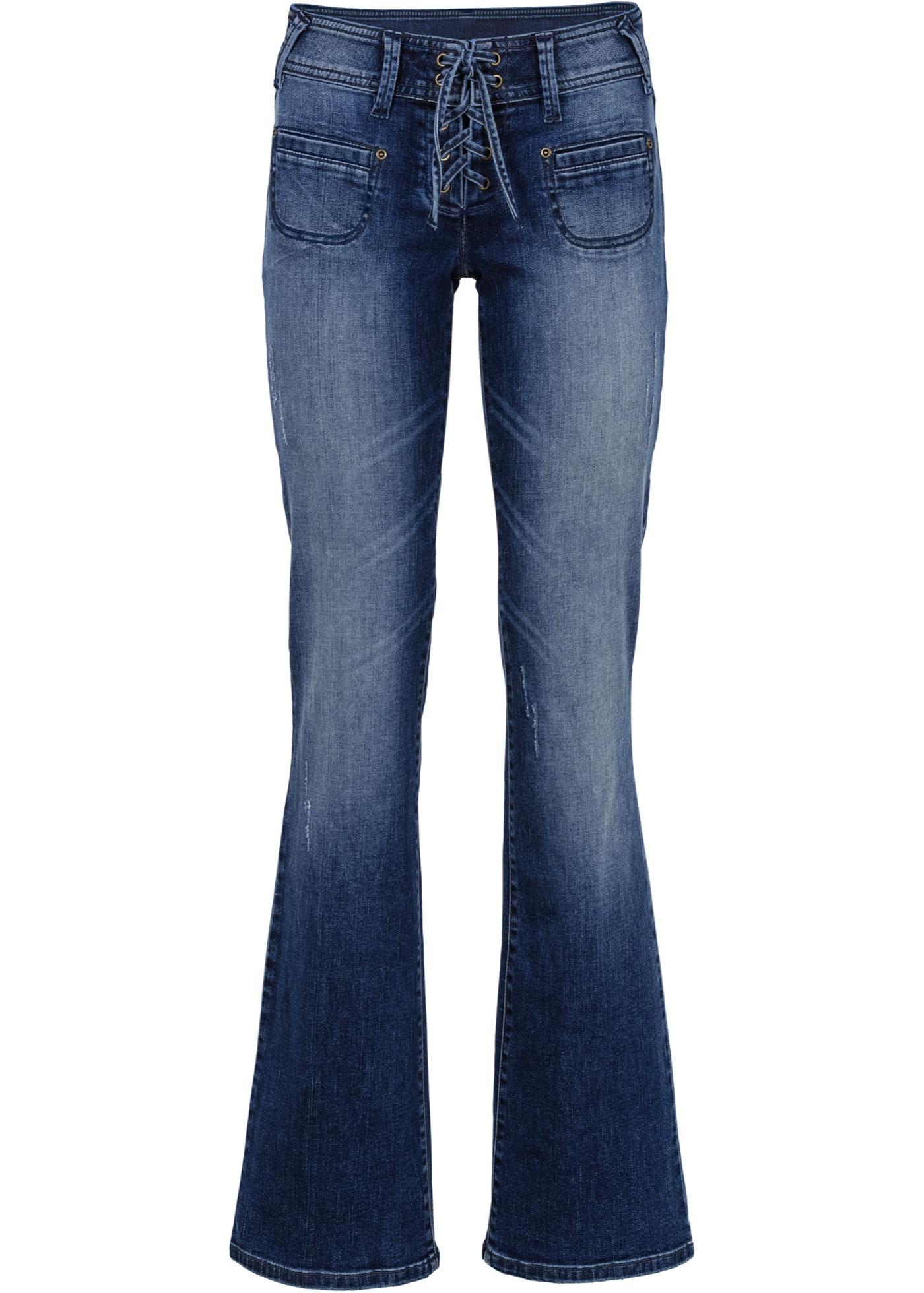 jeans mit schn rung in blau f r damen von bonprix rainbow damen. Black Bedroom Furniture Sets. Home Design Ideas