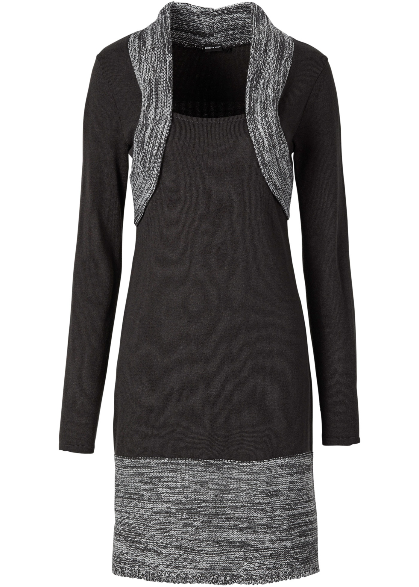 Strickkleid langarm  in grau von bonprix Damenmode > Damenbekleidung > Kleider > Langarmkleider