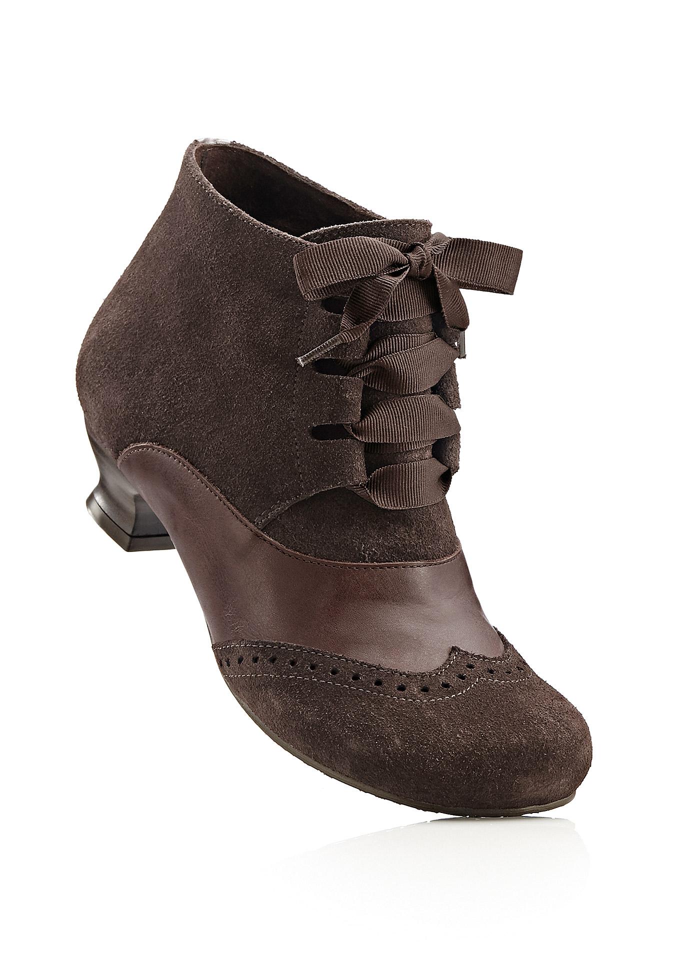 Lederstiefelette in braun für Damen von bonprix Schuhe und Accessoires > Damenschuhe > Bequemschuhe