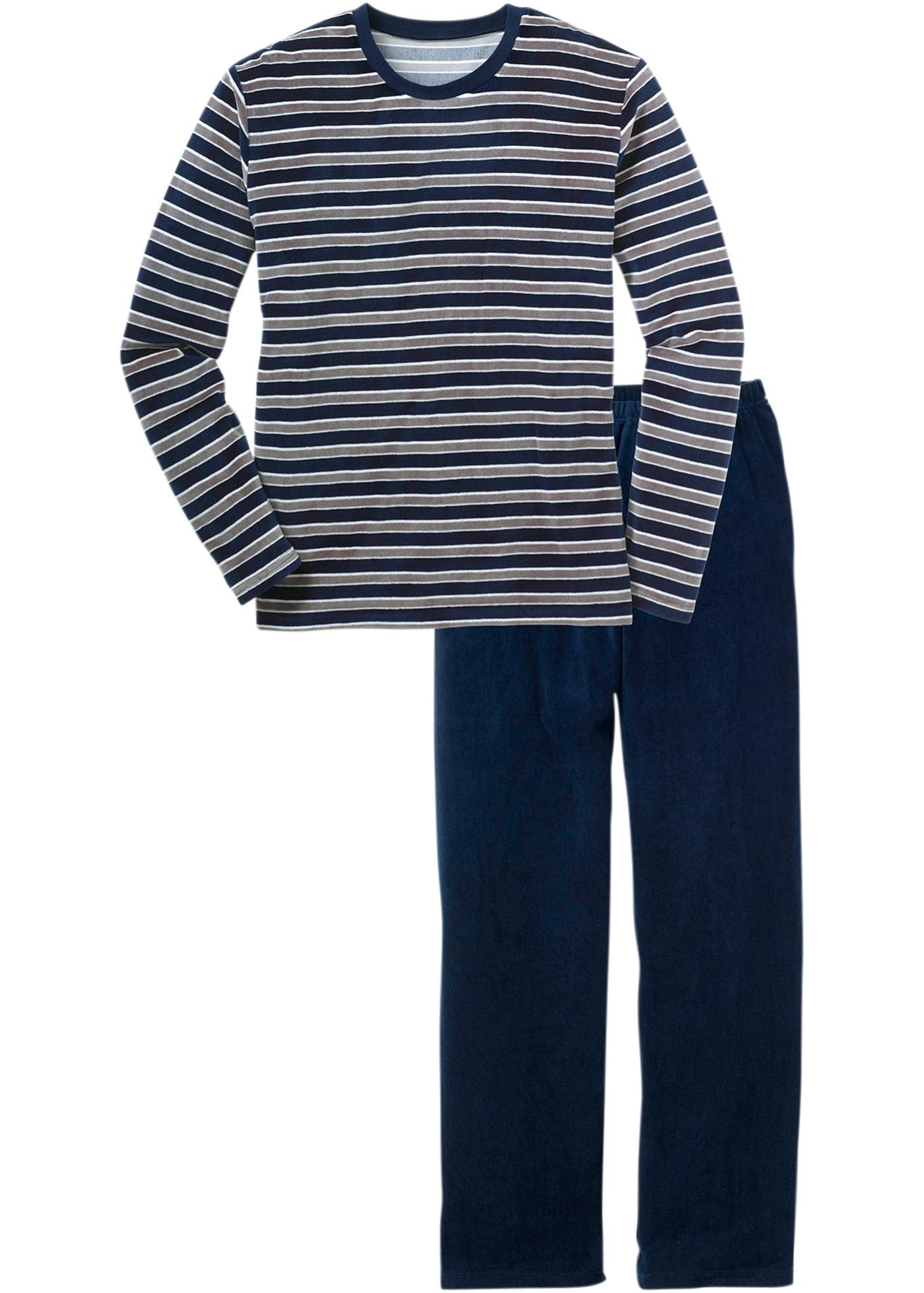 bpc bonprix collection Nicki Pyjama langarm  in blau für Herren von bonprix
