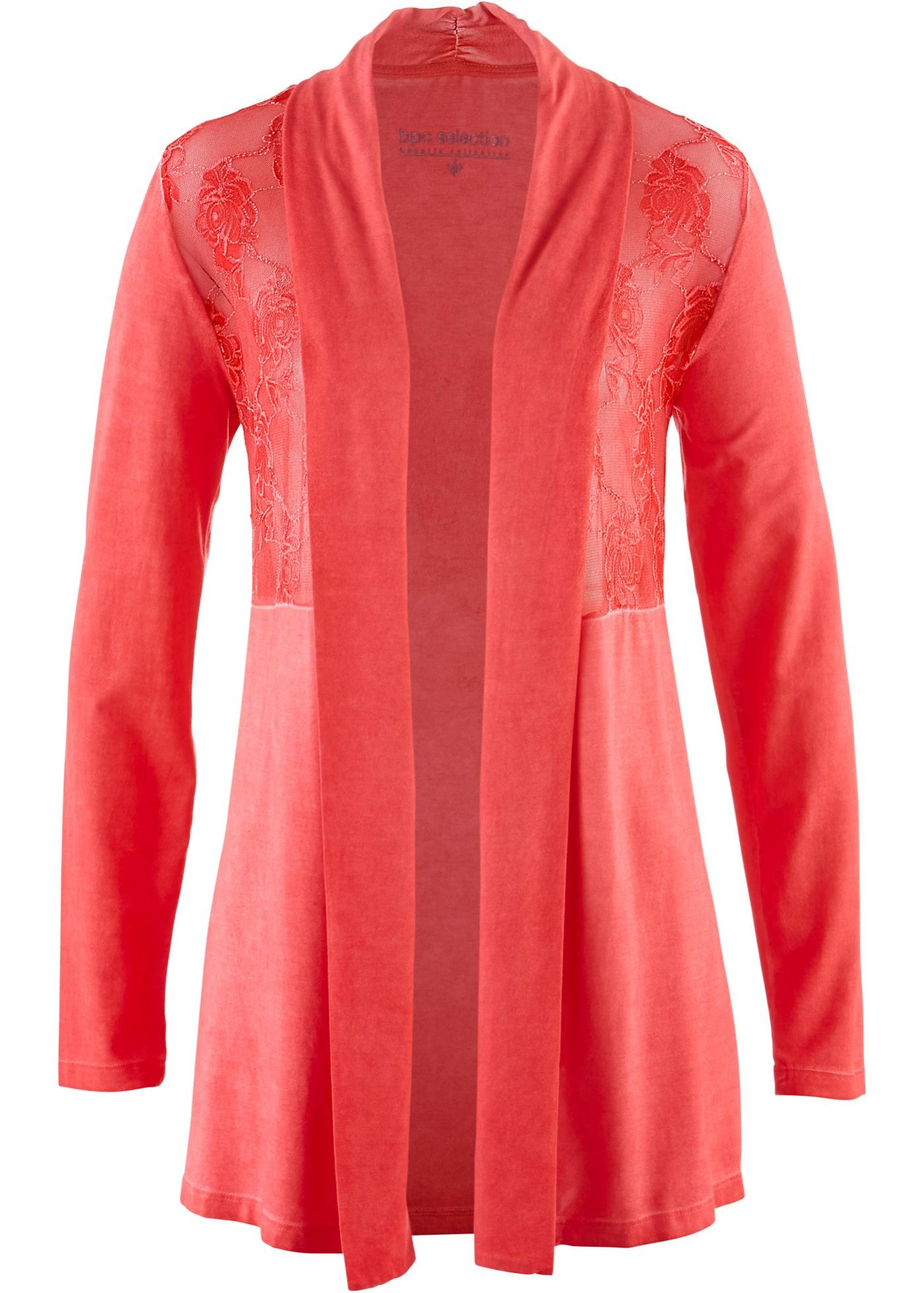 bpc selection premium Shirtjacke  mit transparentem Spitzeneinsatz langarm  in rot für Damen von bonprix